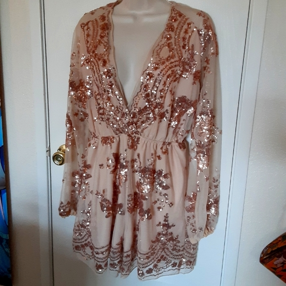 Rose Gold Sequins Romper Size Small